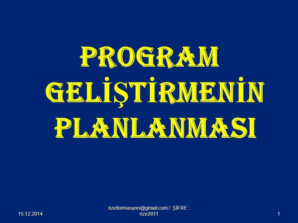 Program Geliştirmenin Planlanması Süreci Üç adımdan oluşur ; Program geliştirme gruplarının oluşturulması Hedeflere kaynaklık edecek ihtiyaçların belirlenmesi ve Diğer planlama çalışmaları adımlarından oluşur 15.12.20142 rizeformasyon@gmail.com / ŞİFRE : rize2011