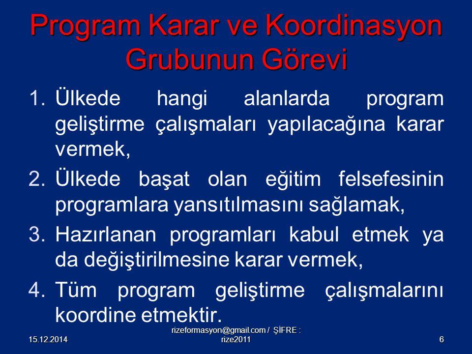 Program Karar ve Koordinasyon Grubunun Görevi 1.Ülkede hangi alanlarda program geliştirme çalışmaları yapılacağına karar vermek, 2.Ülkede başat olan e