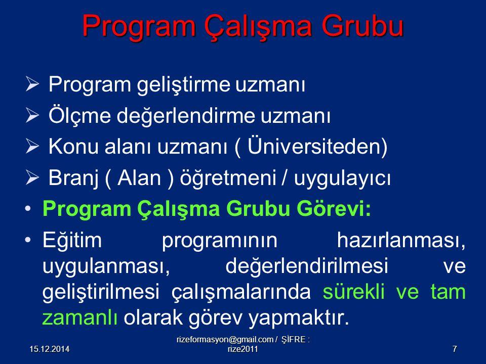 Program Çalışma Grubu  Program geliştirme uzmanı  Ölçme değerlendirme uzmanı  Konu alanı uzmanı ( Üniversiteden)  Branj ( Alan ) öğretmeni / uygul