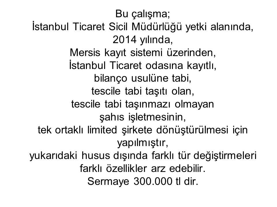 Bu çalışma; İstanbul Ticaret Sicil Müdürlüğü yetki alanında, 2014 yılında, Mersis kayıt sistemi üzerinden, İstanbul Ticaret odasına kayıtlı, bilanço u