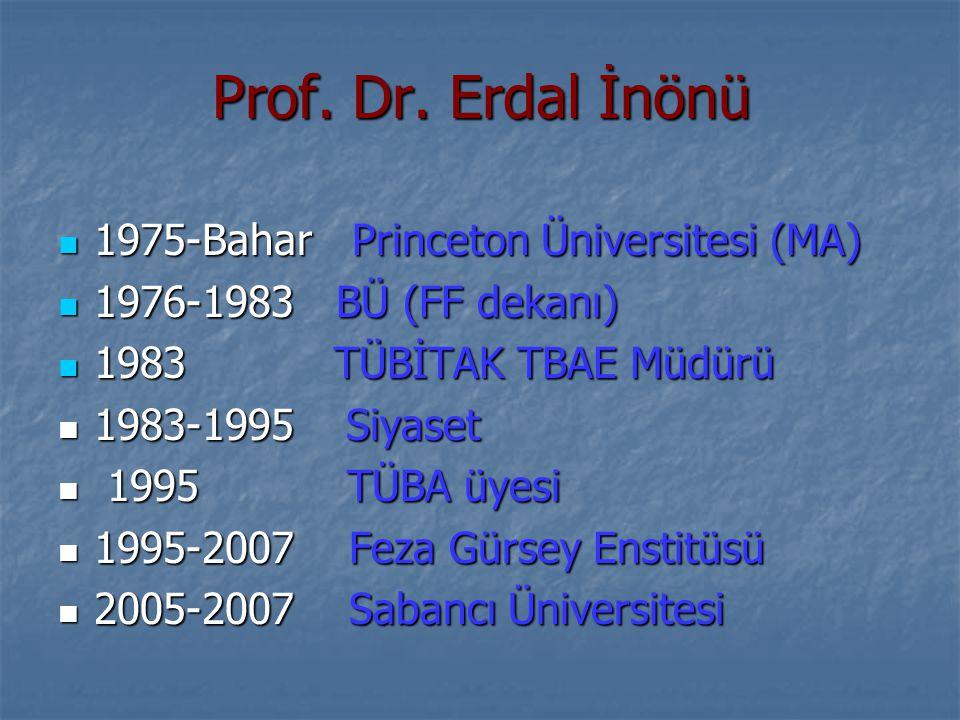 Prof. Dr. Erdal İnönü 1975-Bahar Princeton Üniversitesi (MA) 1975-Bahar Princeton Üniversitesi (MA) 1976-1983 BÜ (FF dekanı) 1976-1983 BÜ (FF dekanı)