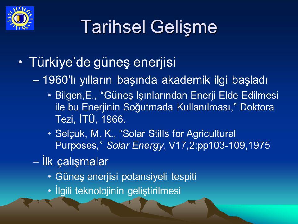 """Tarihsel Gelişme Türkiye'de güneş enerjisi –1960'lı yılların başında akademik ilgi başladı Bilgen,E., """"Güneş Işınlarından Enerji Elde Edilmesi ile bu"""
