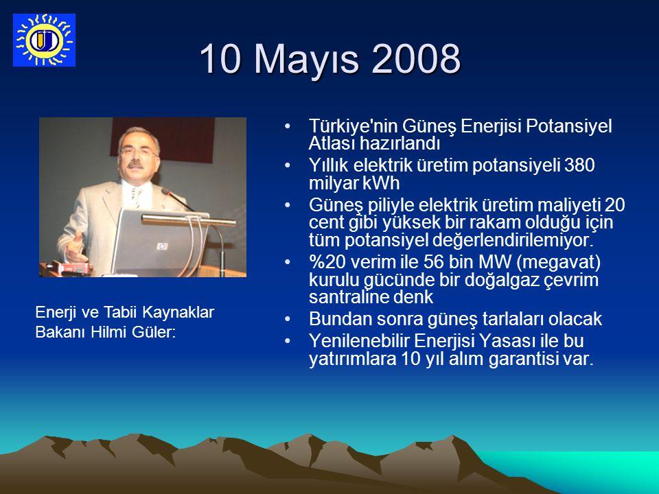 10 Mayıs 2008 Türkiye'nin Güneş Enerjisi Potansiyel Atlası hazırlandı Yıllık elektrik üretim potansiyeli 380 milyar kWh Güneş piliyle elektrik üretim