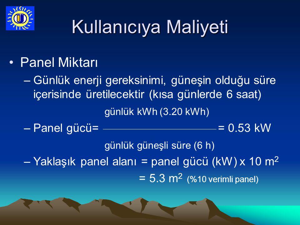 Kullanıcıya Maliyeti Panel Miktarı –Günlük enerji gereksinimi, güneşin olduğu süre içerisinde üretilecektir (kısa günlerde 6 saat) günlük kWh (3.20 kW