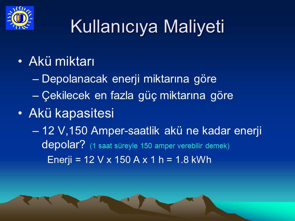 Kullanıcıya Maliyeti Akü miktarı –Depolanacak enerji miktarına göre –Çekilecek en fazla güç miktarına göre Akü kapasitesi –12 V,150 Amper-saatlik akü