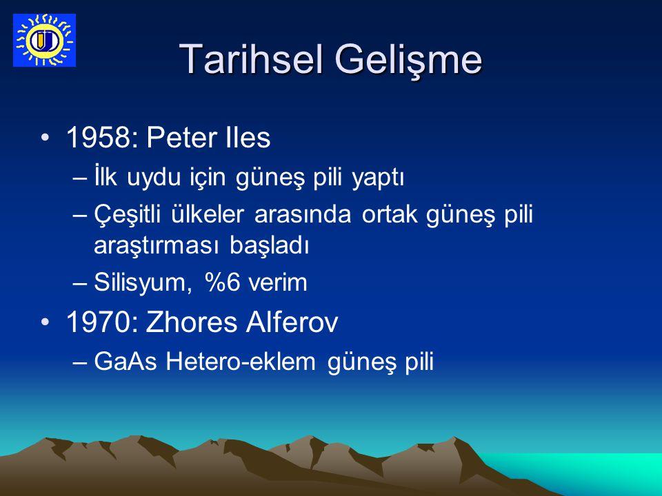 Tarihsel Gelişme 1958: Peter Iles –İlk uydu için güneş pili yaptı –Çeşitli ülkeler arasında ortak güneş pili araştırması başladı –Silisyum, %6 verim 1