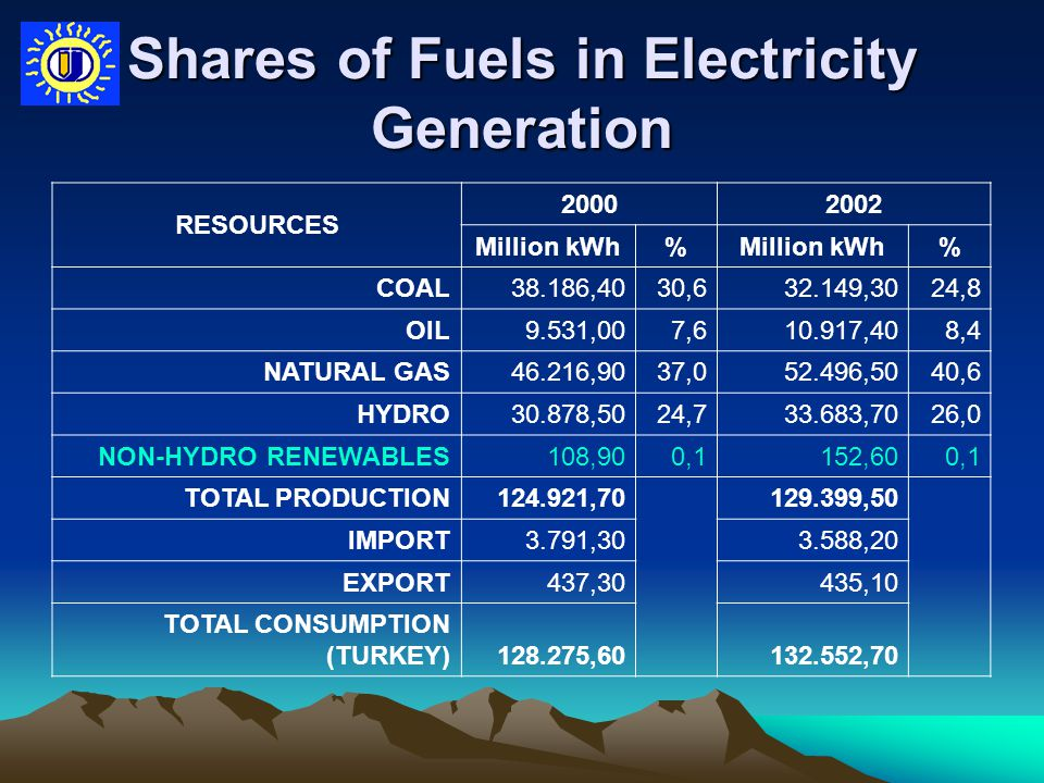 Shares of Fuels in Electricity Generation RESOURCES 20002002 Million kWh% % COAL38.186,40 30,6 32.149,3024,8 OIL9.531,007,610.917,408,4 NATURAL GAS46.216,9037,052.496,5040,6 HYDRO30.878,5024,733.683,7026,0 NON-HYDRO RENEWABLES108,900,1152,600,1 TOTAL PRODUCTION124.921,70 129.399,50 IMPORT3.791,303.588,20 EXPORT437,30435,10 TOTAL CONSUMPTION (TURKEY)128.275,60132.552,70