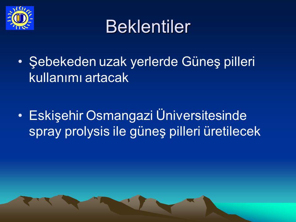 Beklentiler Şebekeden uzak yerlerde Güneş pilleri kullanımı artacak Eskişehir Osmangazi Üniversitesinde spray prolysis ile güneş pilleri üretilecek