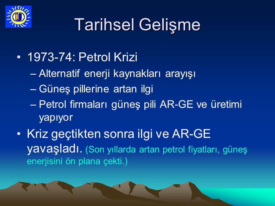 Tarihsel Gelişme 1973-74: Petrol Krizi –Alternatif enerji kaynakları arayışı –Güneş pillerine artan ilgi –Petrol firmaları güneş pili AR-GE ve üretimi