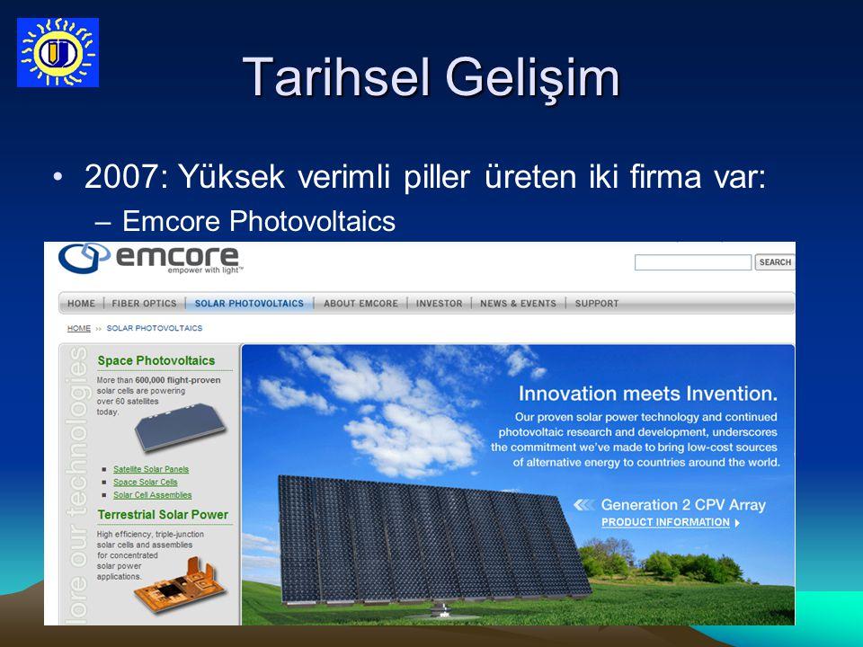 Tarihsel Gelişim 2007: Yüksek verimli piller üreten iki firma var: –Emcore Photovoltaics