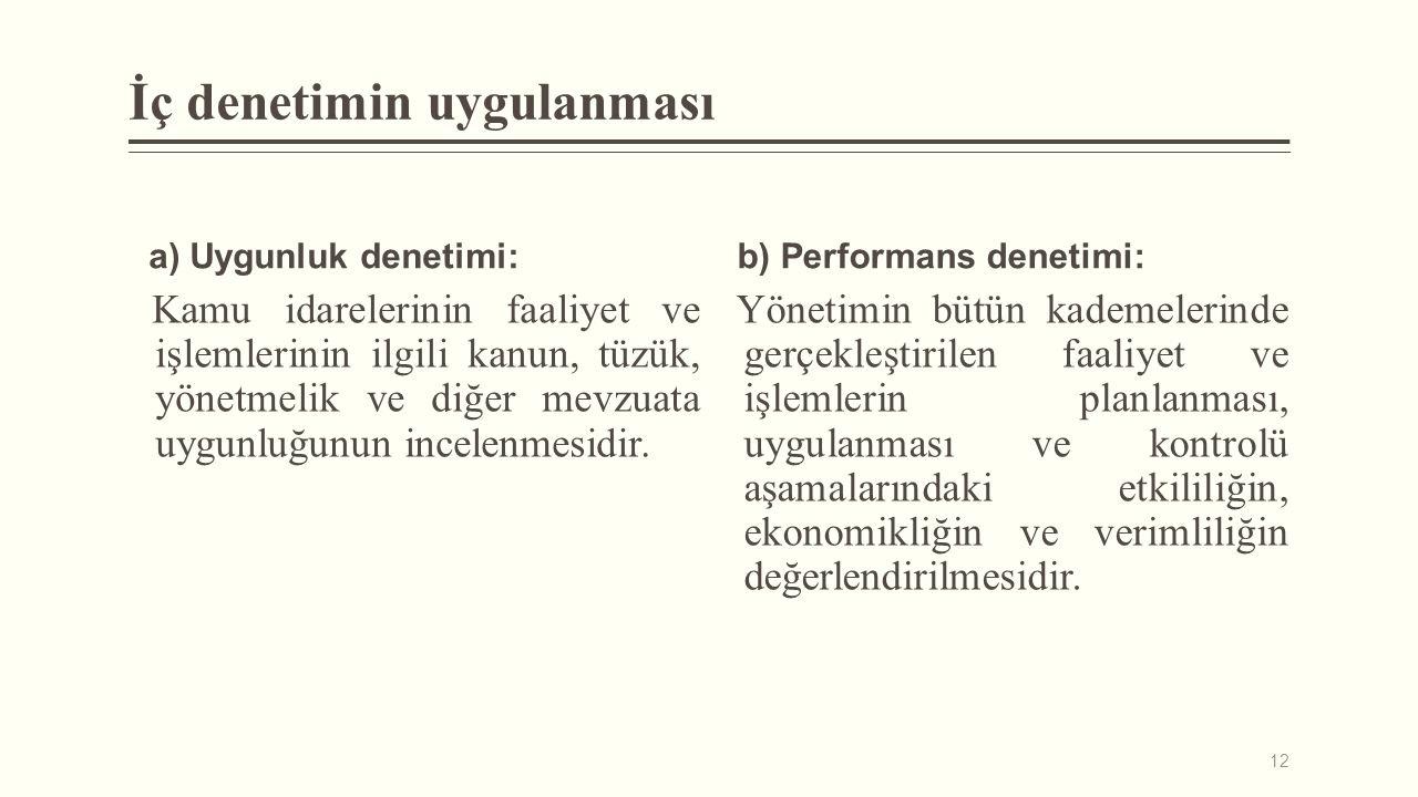 İç denetimin uygulanması a) Uygunluk denetimi: Kamu idarelerinin faaliyet ve işlemlerinin ilgili kanun, tüzük, yönetmelik ve diğer mevzuata uygunluğun