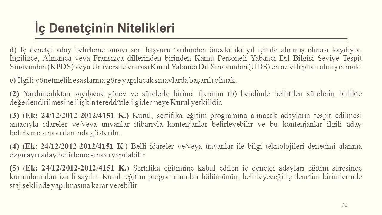 İç Denetçinin Nitelikleri d) İç denetçi aday belirleme sınavı son başvuru tarihinden önceki iki yıl içinde alınmış olması kaydıyla, İngilizce, Almanca