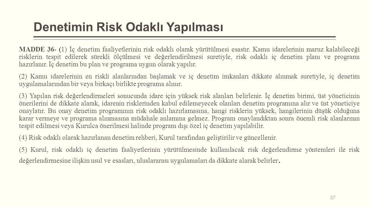 Denetimin Risk Odaklı Yapılması MADDE 36- (1) İç denetim faaliyetlerinin risk odaklı olarak yürütülmesi esastır. Kamu idarelerinin maruz kalabileceği