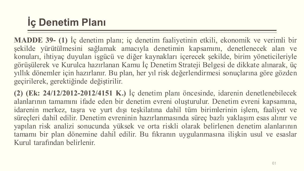 İç Denetim Planı MADDE 39- (1) İç denetim planı; iç denetim faaliyetinin etkili, ekonomik ve verimli bir şekilde yürütülmesini sağlamak amacıyla denet