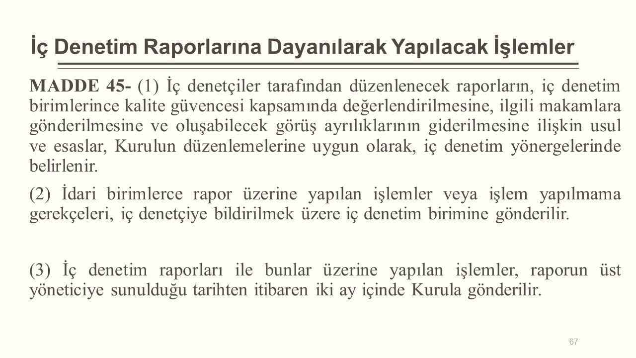 İç Denetim Raporlarına Dayanılarak Yapılacak İşlemler MADDE 45- (1) İç denetçiler tarafından düzenlenecek raporların, iç denetim birimlerince kalite g