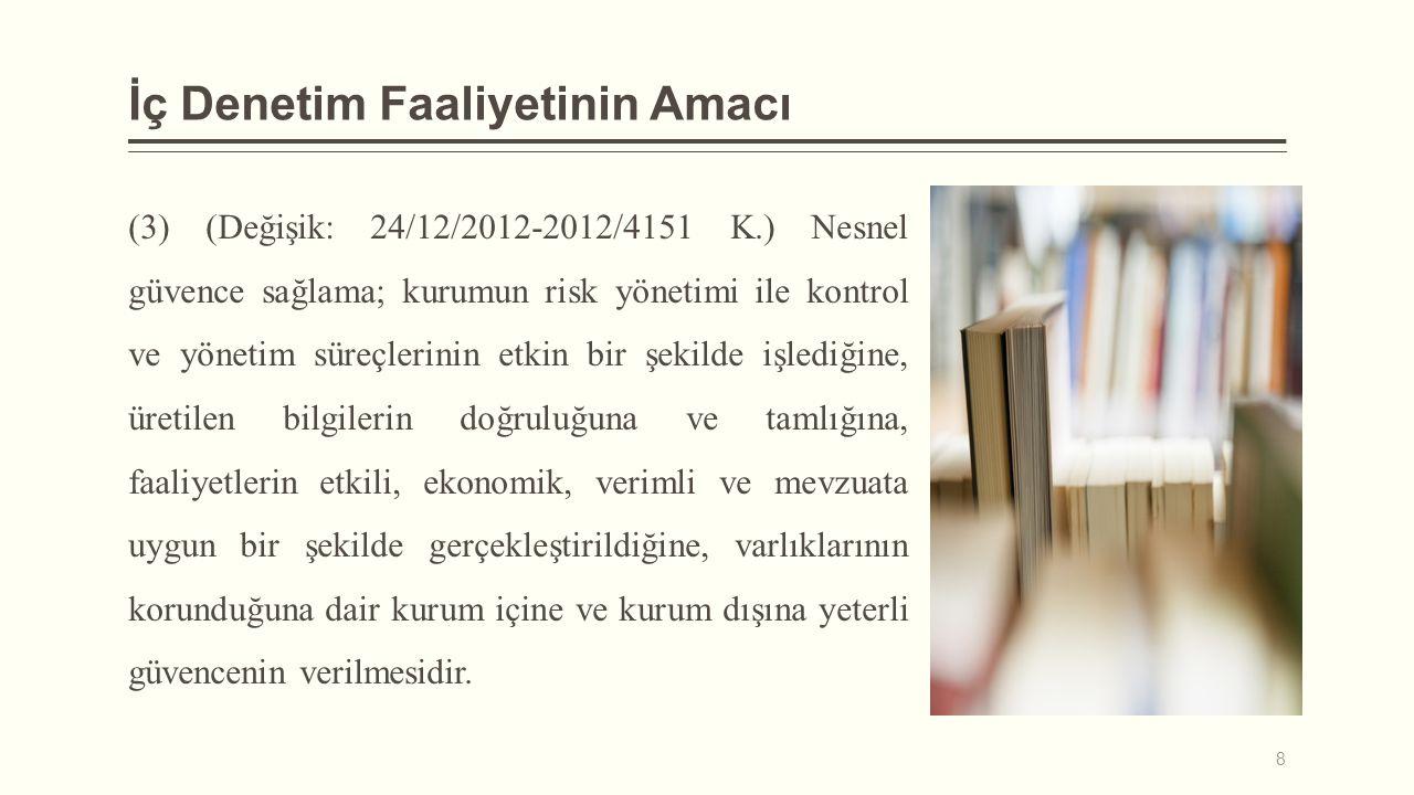 İç Denetim Faaliyetinin Amacı (3) (Değişik: 24/12/2012-2012/4151 K.) Nesnel güvence sağlama; kurumun risk yönetimi ile kontrol ve yönetim süreçlerinin