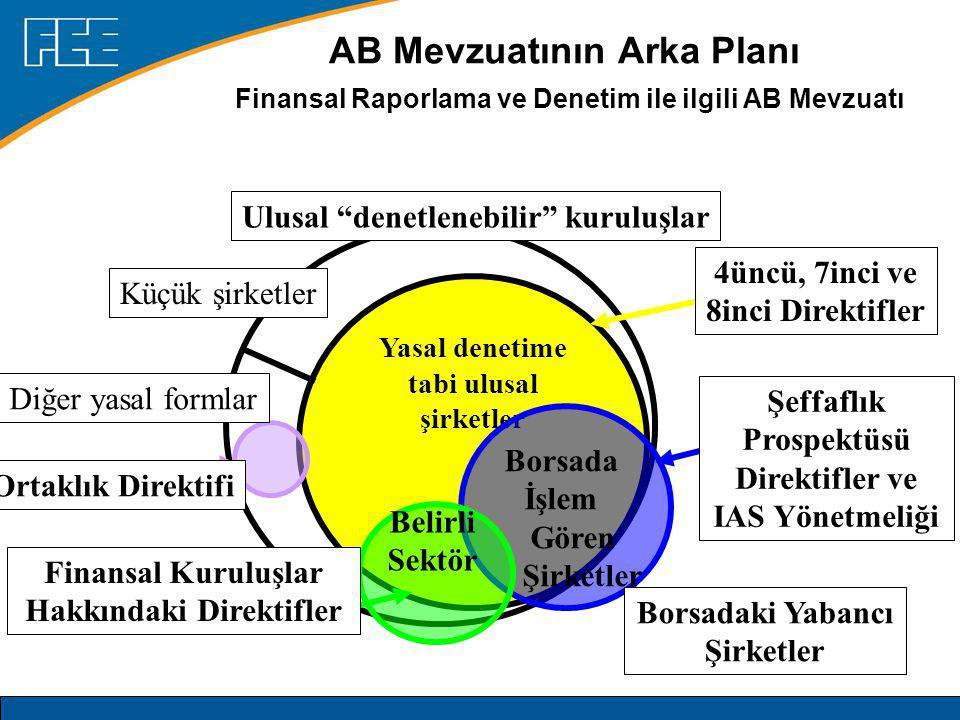 AB Mevzuatının Arka Planı Finansal Raporlama ve Denetim ile ilgili AB Mevzuatı Yasal denetime tabi ulusal şirketler Küçük şirketler Borsada İşlem Gören Şirketler Ulusal denetlenebilir kuruluşlar Belirli Sektör 4üncü, 7inci ve 8inci Direktifler Ortaklık Direktifi Diğer yasal formlar Şeffaflık Prospektüsü Direktifler ve IAS Yönetmeliği Borsadaki Yabancı Şirketler Finansal Kuruluşlar Hakkındaki Direktifler