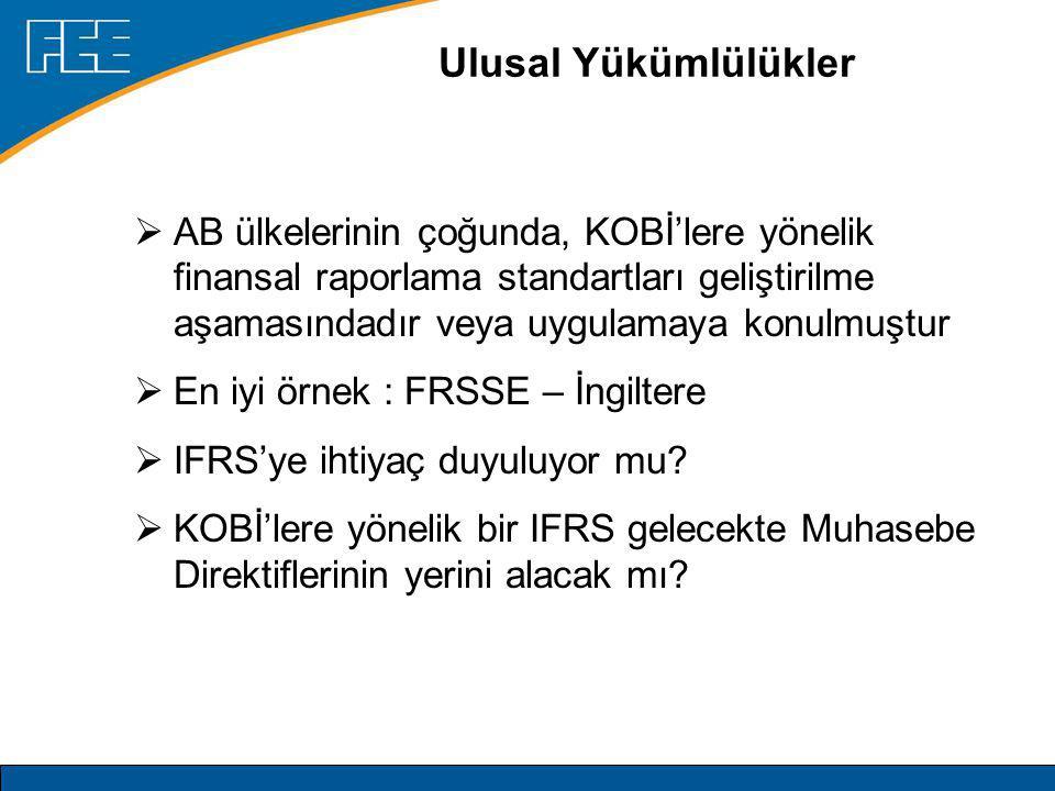 Ulusal Yükümlülükler  AB ülkelerinin çoğunda, KOBİ'lere yönelik finansal raporlama standartları geliştirilme aşamasındadır veya uygulamaya konulmuştur  En iyi örnek : FRSSE – İngiltere  IFRS'ye ihtiyaç duyuluyor mu.