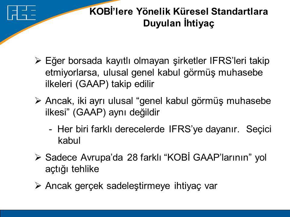 KOBİ'lere Yönelik Küresel Standartlara Duyulan İhtiyaç  Eğer borsada kayıtlı olmayan şirketler IFRS'leri takip etmiyorlarsa, ulusal genel kabul görmüş muhasebe ilkeleri (GAAP) takip edilir  Ancak, iki ayrı ulusal genel kabul görmüş muhasebe ilkesi (GAAP) aynı değildir - Her biri farklı derecelerde IFRS'ye dayanır.