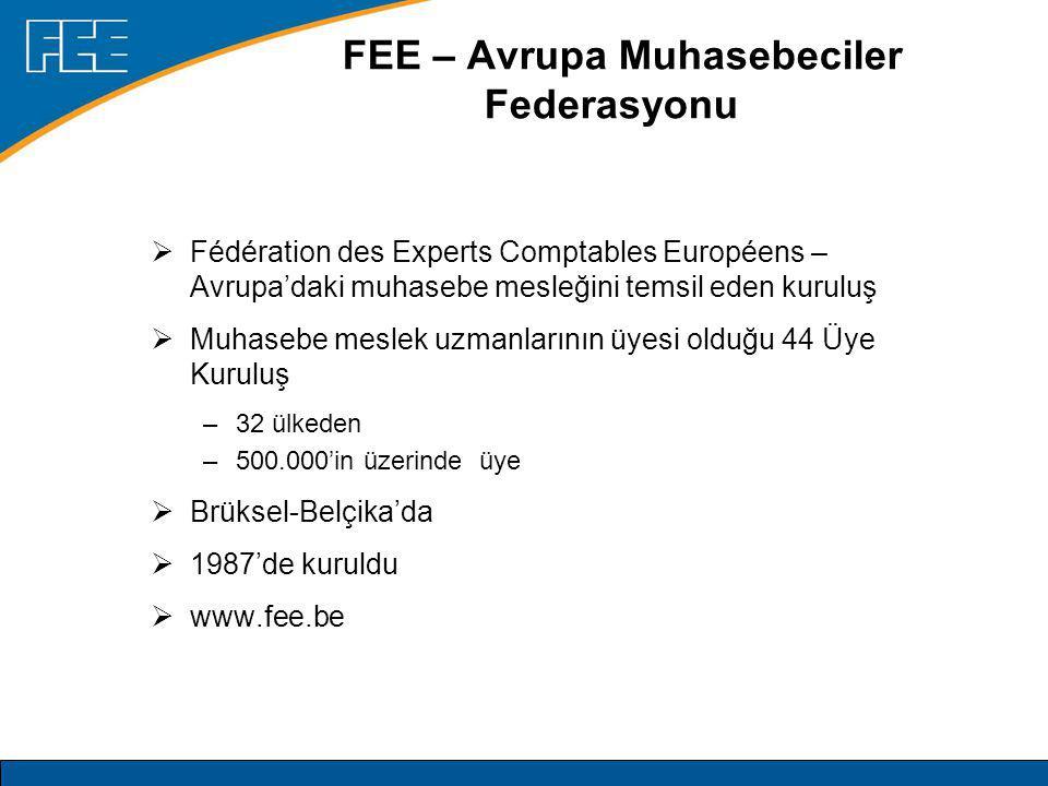 FEE – Avrupa Muhasebeciler Federasyonu  Fédération des Experts Comptables Européens – Avrupa'daki muhasebe mesleğini temsil eden kuruluş  Muhasebe meslek uzmanlarının üyesi olduğu 44 Üye Kuruluş –32 ülkeden –500.000'in üzerinde üye  Brüksel-Belçika'da  1987'de kuruldu  www.fee.be