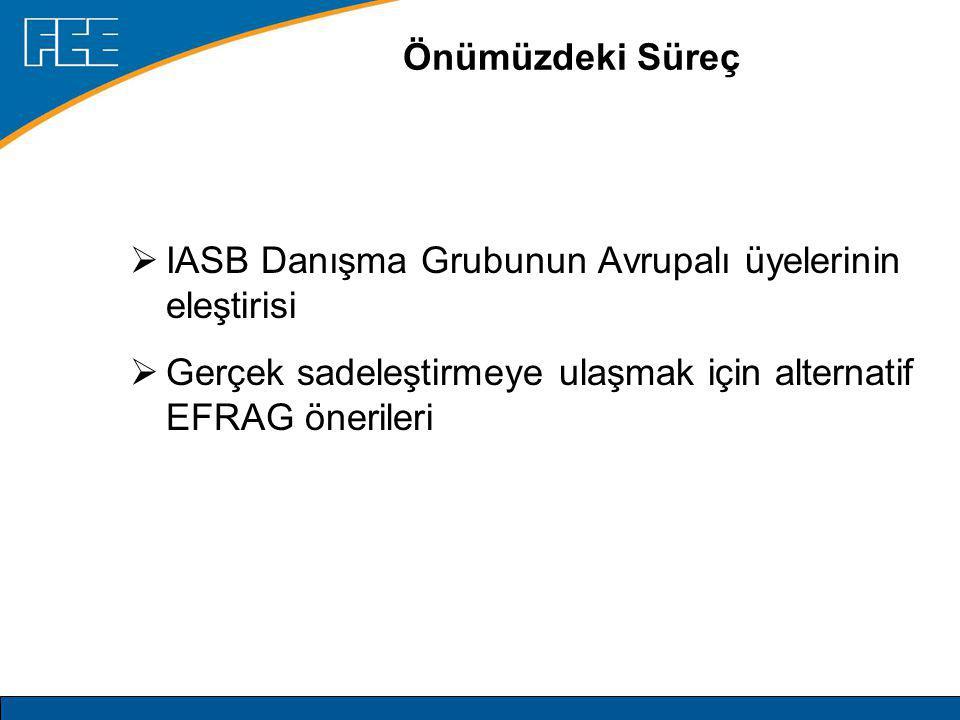 Önümüzdeki Süreç  IASB Danışma Grubunun Avrupalı üyelerinin eleştirisi  Gerçek sadeleştirmeye ulaşmak için alternatif EFRAG önerileri