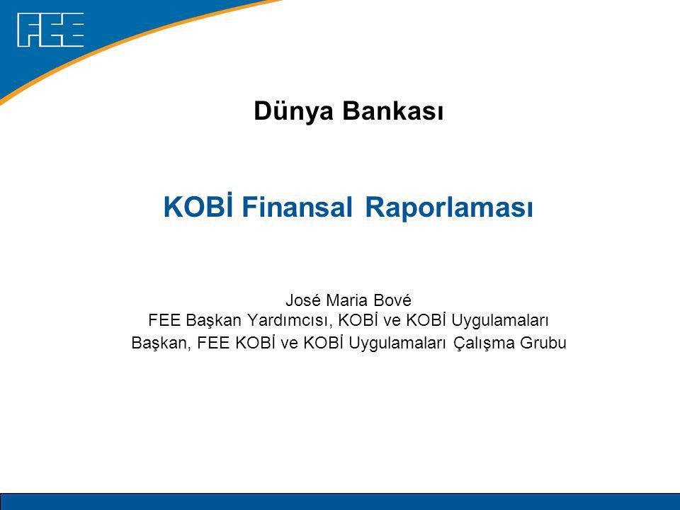 Dünya Bankası KOBİ Finansal Raporlaması José Maria Bové FEE Başkan Yardımcısı, KOBİ ve KOBİ Uygulamaları Başkan, FEE KOBİ ve KOBİ Uygulamaları Çalışma Grubu