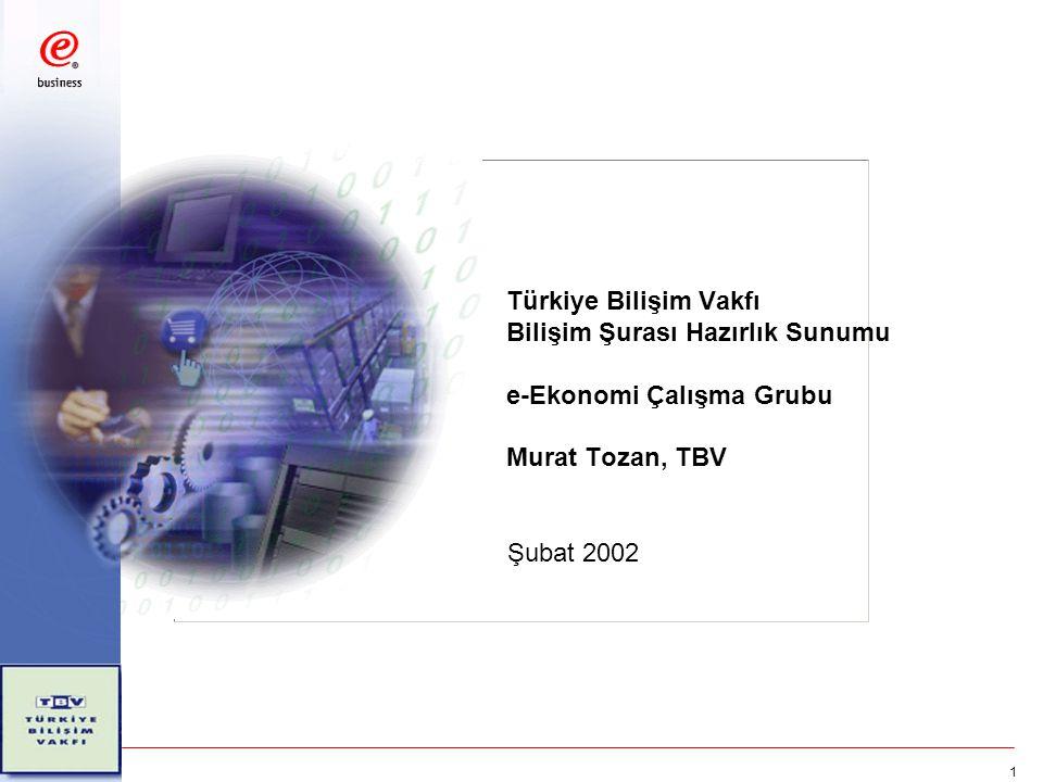 1 Türkiye Bilişim Vakfı Bilişim Şurası Hazırlık Sunumu e-Ekonomi Çalışma Grubu Murat Tozan, TBV Şubat 2002