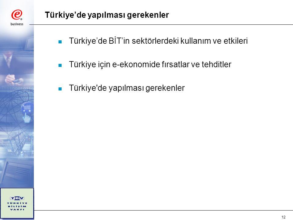 12 Türkiye'de yapılması gerekenler n Türkiye'de BİT'in sektörlerdeki kullanım ve etkileri n Türkiye için e-ekonomide fırsatlar ve tehditler n Türkiye de yapılması gerekenler