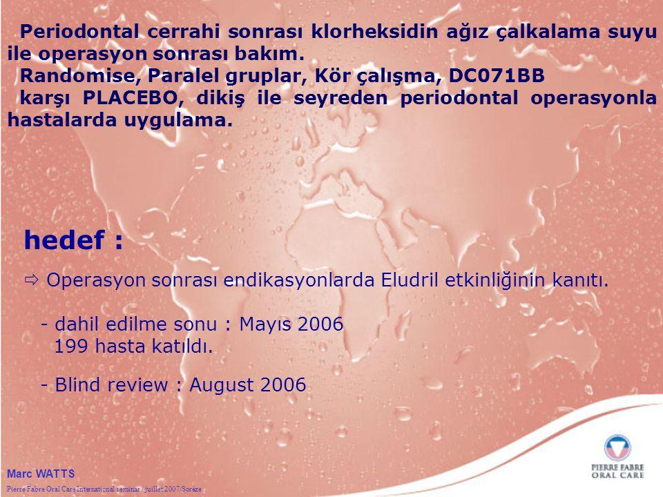 Pierre Fabre Oral Care International seminar / juillet 2007/Sorèze Marc WATTS Periodontal cerrahi sonrası klorheksidin ağız çalkalama suyu ile operasyon sonrası bakım.