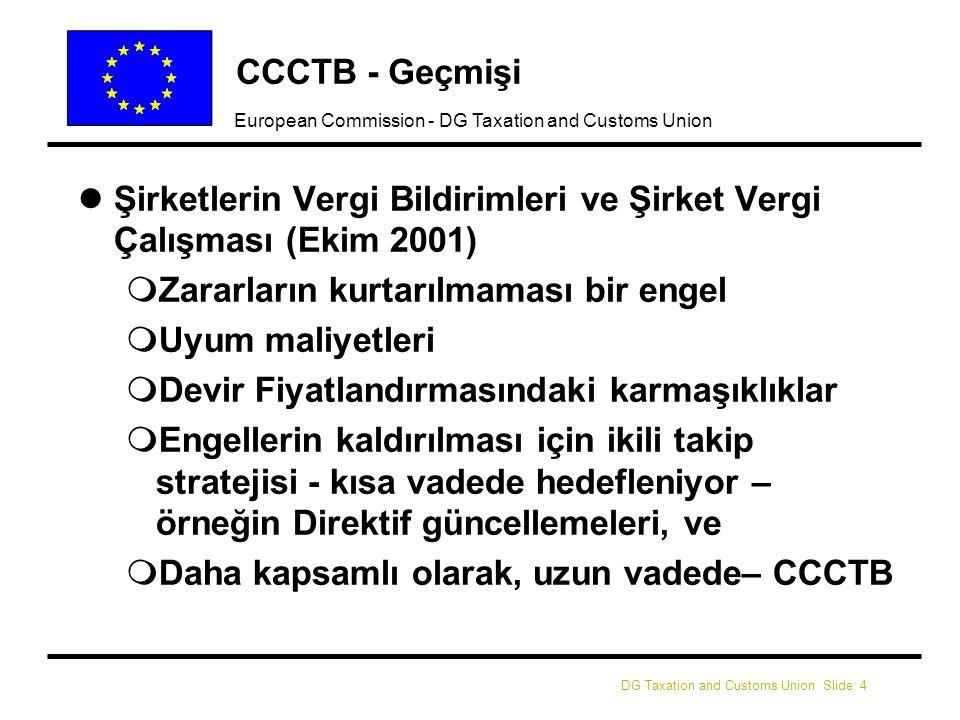 DG Taxation and Customs Union Slide: 5 European Commission - DG Taxation and Customs Union CCCTB - Geçmişi 2003 – Kamuoyu İstişaresi '2005 yılında ISA'ların uygulanması ve şirketlerin AB çapındaki faaliyetleri için konsolide bir vergi matrahının uygulamaya konması üzerindeki etkileri'2003 – Kamuoyu İstişaresi '2005 yılında ISA'ların uygulanması ve şirketlerin AB çapındaki faaliyetleri için konsolide bir vergi matrahının uygulamaya konması üzerindeki etkileri' 2003 – daha sonraki Bildiride, CCCTB tercih edilen uzun vadeli seçenek olarak teyit edilmiştir2003 – daha sonraki Bildiride, CCCTB tercih edilen uzun vadeli seçenek olarak teyit edilmiştir 2004 – ECOFIN (gayrıresmi) : CCCTB Çalışma Grubu için destek2004 – ECOFIN (gayrıresmi) : CCCTB Çalışma Grubu için destek Kasım 2004 – CCCTB Çalışma Grubu kurulduKasım 2004 – CCCTB Çalışma Grubu kuruldu Ekim 2005 – Lizbon Bildirisi: Lizbon hedeflerine ulaşılmasında verginin katkısı – CCCTB önerisi 2008'deEkim 2005 – Lizbon Bildirisi: Lizbon hedeflerine ulaşılmasında verginin katkısı – CCCTB önerisi 2008'de Nisan 2005 – Bugüne kadar kaydedilen ilerleme ve sonraki adımlar (COM(2006)157)Nisan 2005 – Bugüne kadar kaydedilen ilerleme ve sonraki adımlar (COM(2006)157)