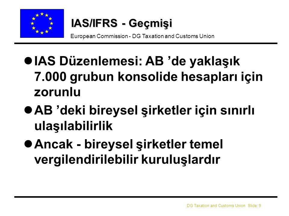 DG Taxation and Customs Union Slide: 9 European Commission - DG Taxation and Customs Union IAS/IFRS - Geçmişi l lIAS Düzenlemesi: AB 'de yaklaşık 7.000 grubun konsolide hesapları için zorunlu l lAB 'deki bireysel şirketler için sınırlı ulaşılabilirlik l lAncak - bireysel şirketler temel vergilendirilebilir kuruluşlardır