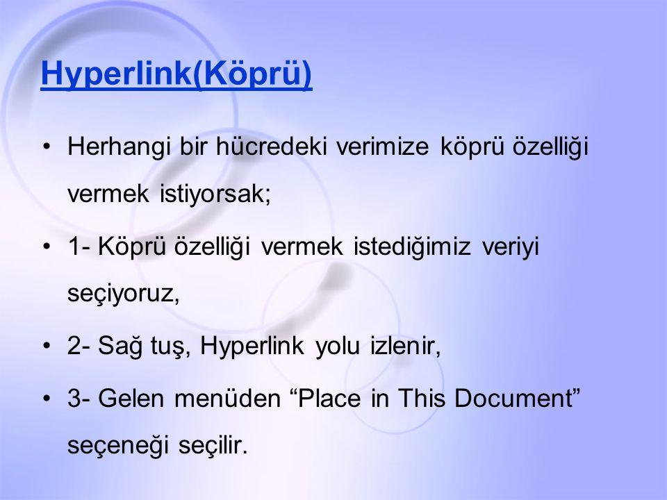 Hyperlink(Köprü) Herhangi bir hücredeki verimize köprü özelliği vermek istiyorsak; 1- Köprü özelliği vermek istediğimiz veriyi seçiyoruz, 2- Sağ tuş, Hyperlink yolu izlenir, 3- Gelen menüden Place in This Document seçeneği seçilir.