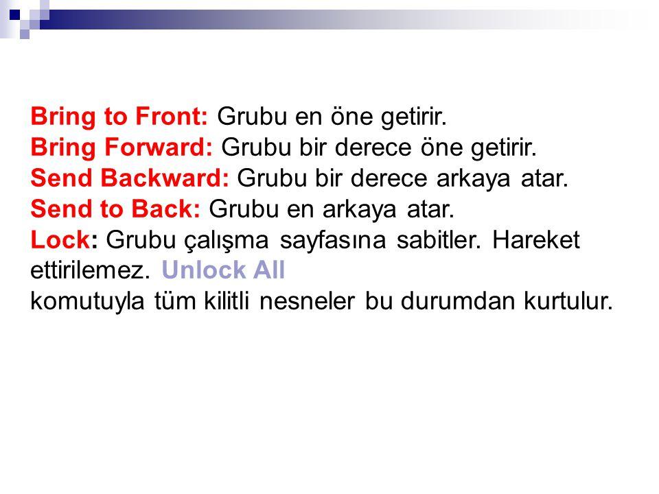 Bring to Front: Grubu en öne getirir. Bring Forward: Grubu bir derece öne getirir.