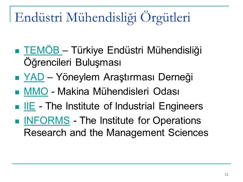 15 Endüstri Mühendisliği Örgütleri TEMÖB – Türkiye Endüstri Mühendisliği Öğrencileri Buluşması YAD – Yöneylem Araştırması Derneği MMO - Makina Mühendi