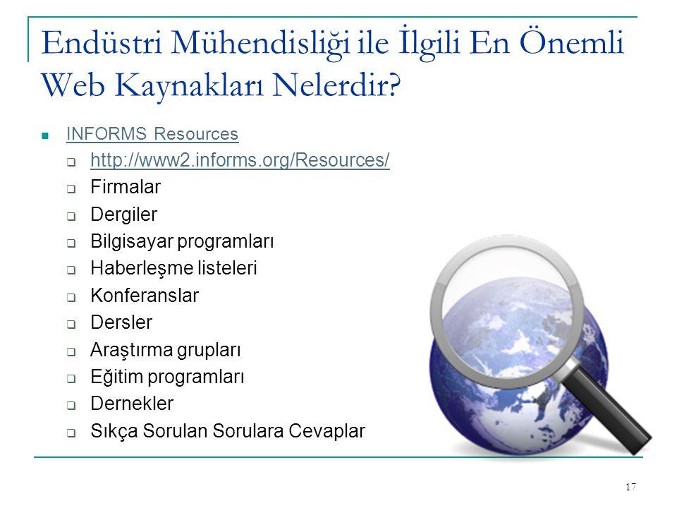 17 Endüstri Mühendisliği ile İlgili En Önemli Web Kaynakları Nelerdir? INFORMS Resources  http://www2.informs.org/Resources/ http://www2.informs.org/