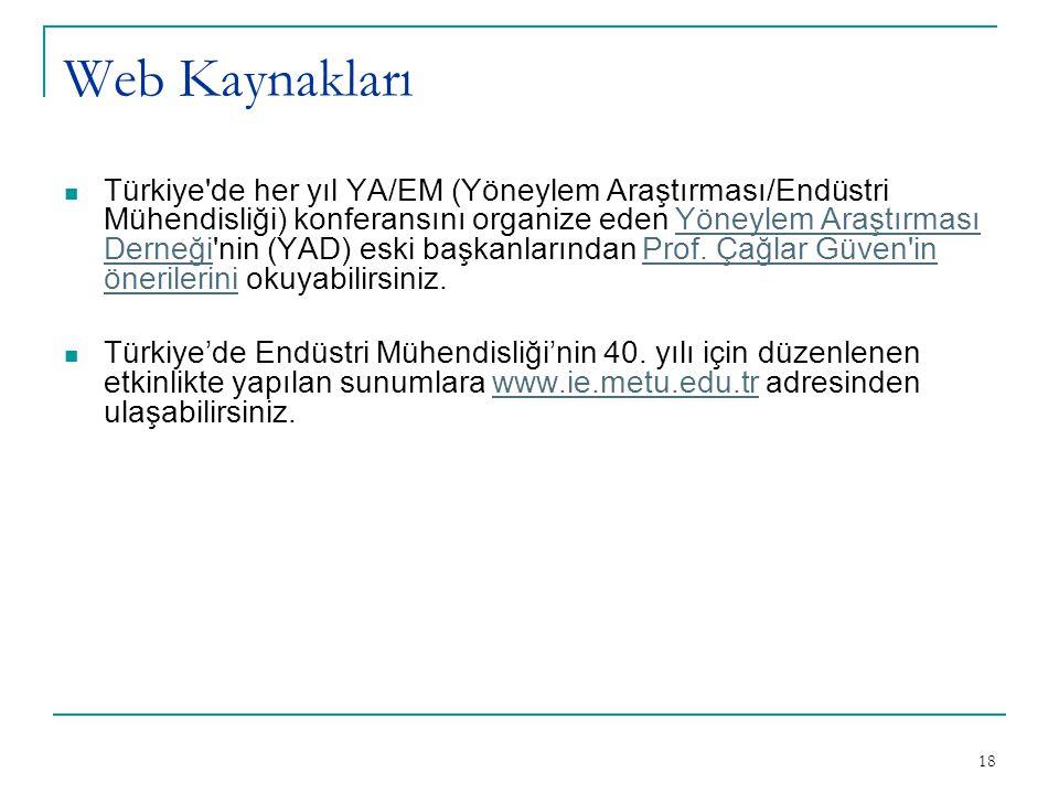 18 Web Kaynakları Türkiye'de her yıl YA/EM (Yöneylem Araştırması/Endüstri Mühendisliği) konferansını organize eden Yöneylem Araştırması Derneği'nin (Y