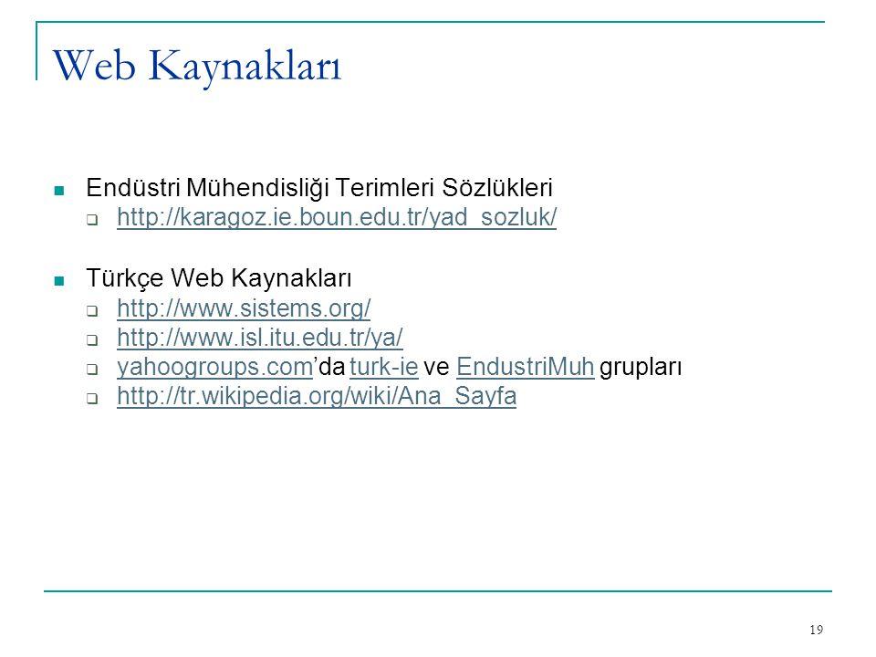 19 Web Kaynakları Endüstri Mühendisliği Terimleri Sözlükleri  http://karagoz.ie.boun.edu.tr/yad_sozluk/ http://karagoz.ie.boun.edu.tr/yad_sozluk/ Tür