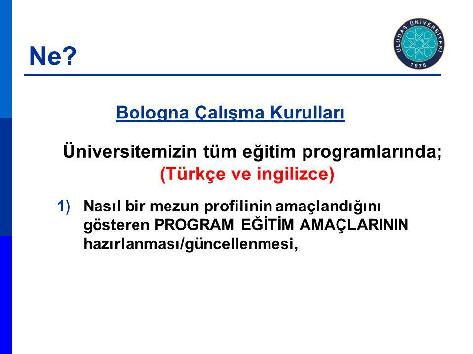 Üniversitemizin tüm eğitim programlarında; (Türkçe ve ingilizce) 1)Nasıl bir mezun profilinin amaçlandığını gösteren PROGRAM EĞİTİM AMAÇLARININ hazırlanması/güncellenmesi, Bologna Çalışma Kurulları Ne