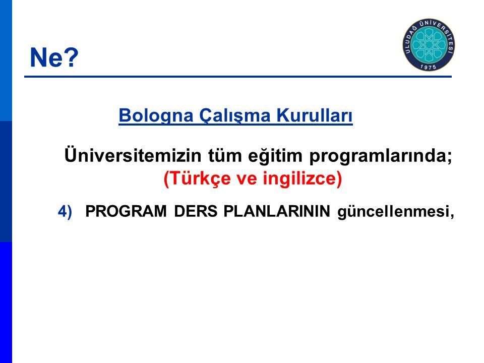 Üniversitemizin tüm eğitim programlarında; (Türkçe ve ingilizce) 4)PROGRAM DERS PLANLARININ güncellenmesi, Bologna Çalışma Kurulları Ne