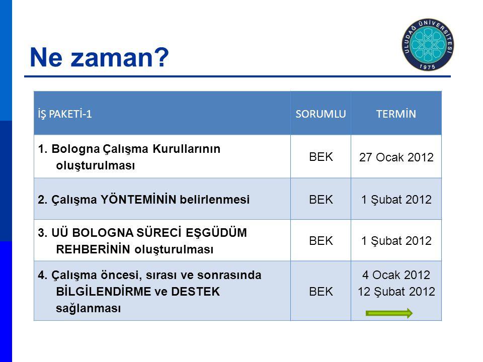 Ne zaman. İŞ PAKETİ-1SORUMLUTERMİN 1.