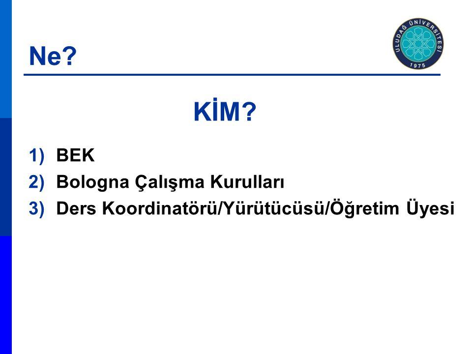 Ne 1)BEK 2)Bologna Çalışma Kurulları 3)Ders Koordinatörü/Yürütücüsü/Öğretim Üyesi KİM