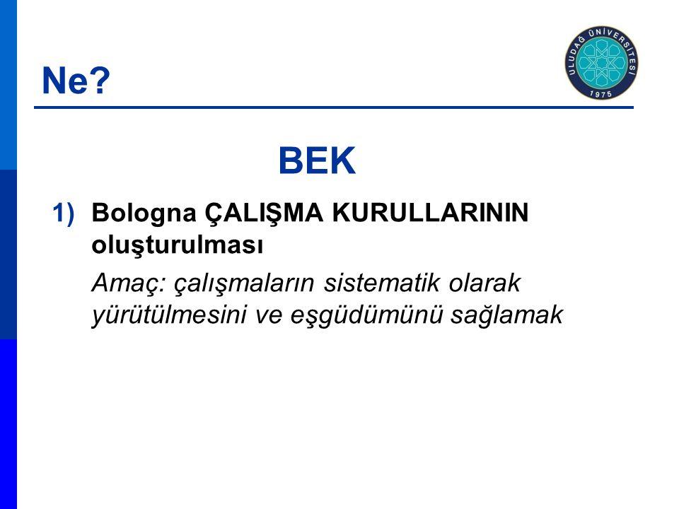 1)Bologna ÇALIŞMA KURULLARININ oluşturulması Amaç: çalışmaların sistematik olarak yürütülmesini ve eşgüdümünü sağlamak BEK Ne