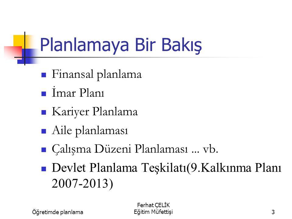 Öğretimde planlama Ferhat ÇELİK Eğitim Müfettişi3 Planlamaya Bir Bakış Finansal planlama İmar Planı Kariyer Planlama Aile planlaması Çalışma Düzeni Pl