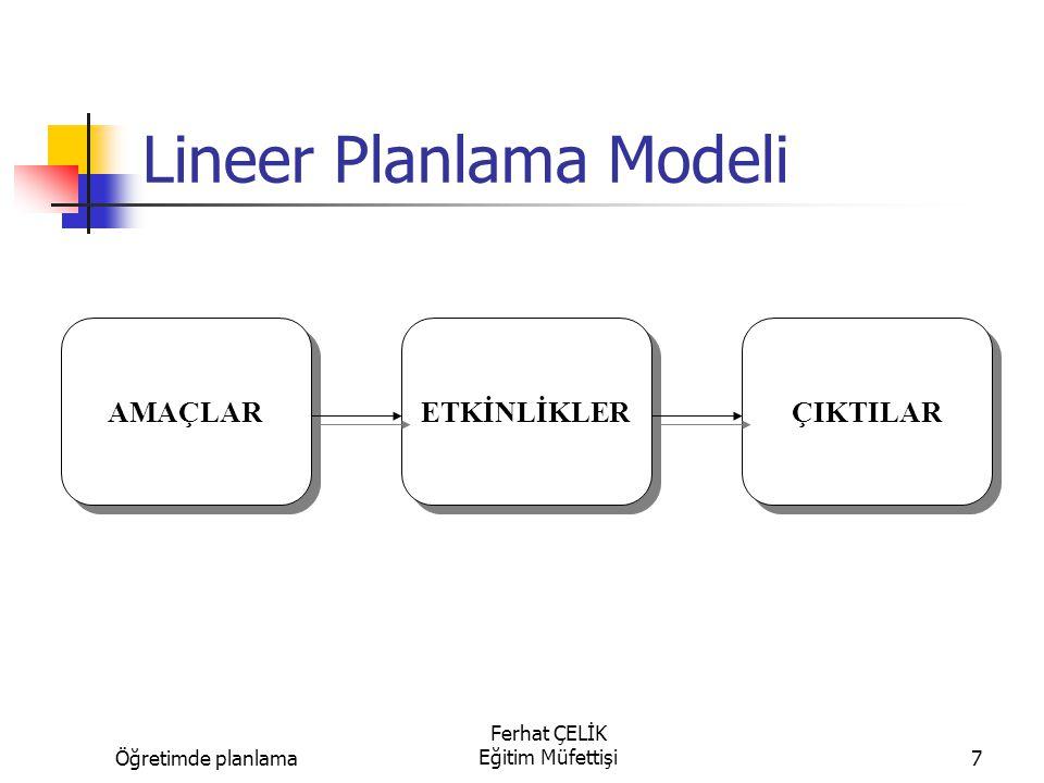 Öğretimde planlama Ferhat ÇELİK Eğitim Müfettişi8 Lineer Planlama Modeli AMAÇLAR ETKİNLİKLER ÇIKTILAR