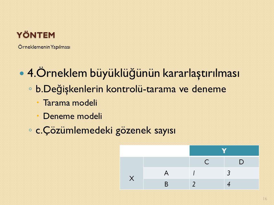 YÖNTEM 16 Örneklemenin Yapılması 4.Örneklem büyüklü ğ ünün kararlaştırılması ◦ b.De ğ işkenlerin kontrolü-tarama ve deneme  Tarama modeli  Deneme mo