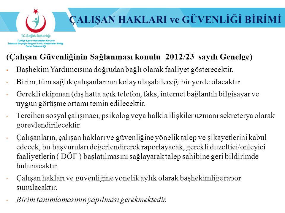 (Çalışan Güvenliğinin Sağlanması konulu 2012/23 sayılı Genelge)  Başhekim Yardımcısına doğrudan bağlı olarak faaliyet gösterecektir. Birim, tüm sağlı