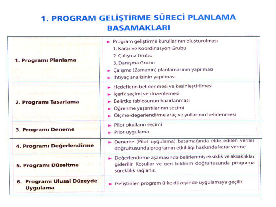 Program Geliştirme Sürecinin Planlanması Program geliştirme çalışmalarında 3 farklı grup görev yapmaktadır 1.Karar ve koordinasyon grubu 2.Çalışma grubu 3.Danışma grubu