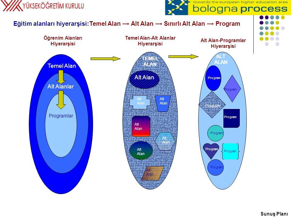 Temel Alan Alt Alanlar Programlar Alt Alan Program Öğrenim Alanları Hiyerarşisi Temel Alan-Alt Alanlar Hiyerarşisi Alt Alan-Programlar Hiyerarşisi TEM