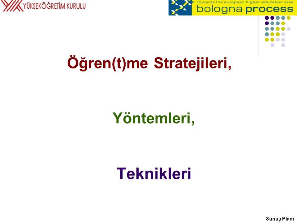 Öğren(t)me Stratejileri, Yöntemleri, Teknikleri Sunuş Planı