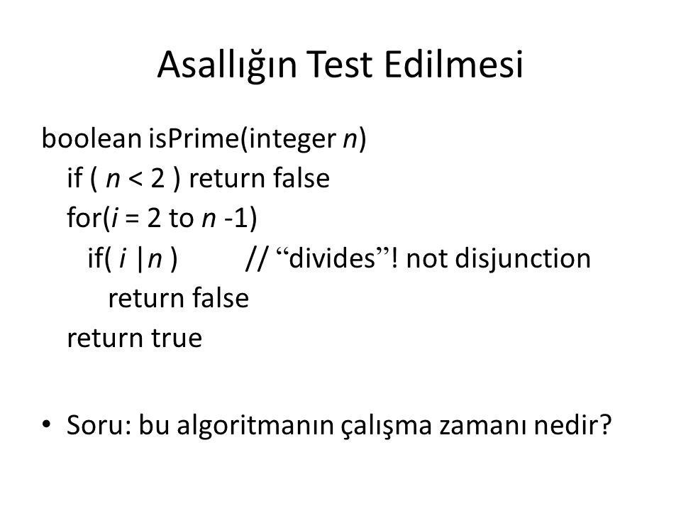 """Asallığın Test Edilmesi boolean isPrime(integer n) if ( n < 2 ) return false for(i = 2 to n -1) if( i  n ) // """" divides """" ! not disjunction return fal"""